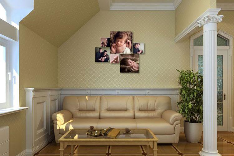 Newborn photo wall arrangement
