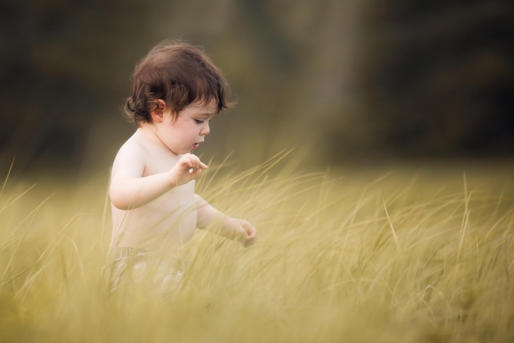 young boy walking through tall beach grass
