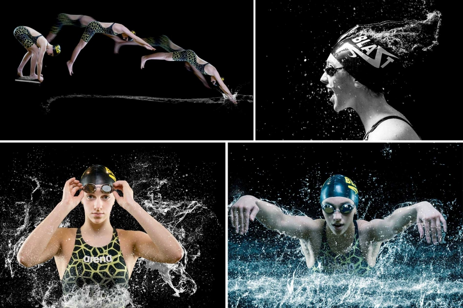 portraits of young female competitive swimmer