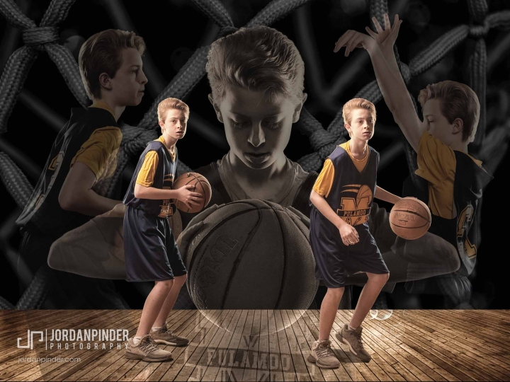 Sports portrait of a Miramichi basketball player in action