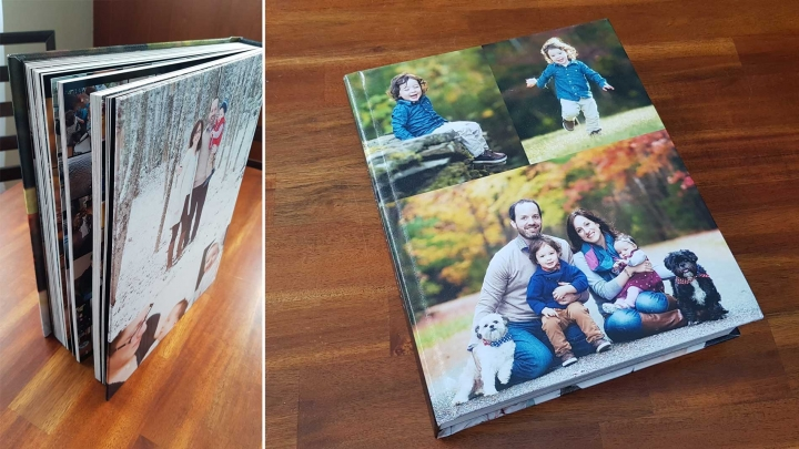 family photo album on wood table