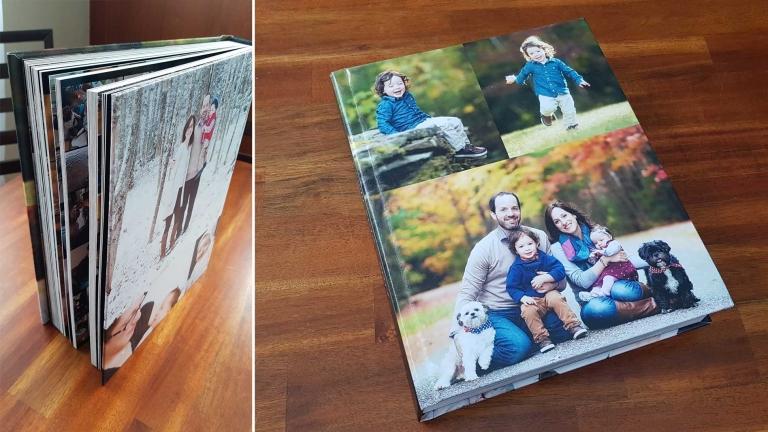 family photo album on wood table