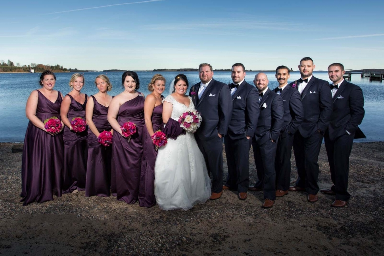 wedding party standing on beach near Miramichi, New Brunswick