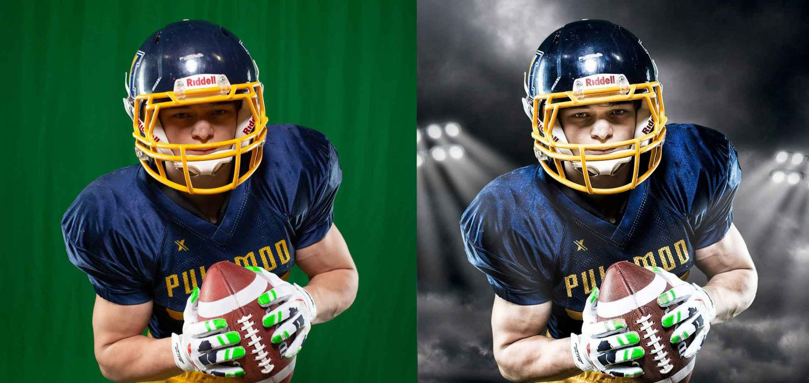 Football player photographed in front of green screen during sport team photography session