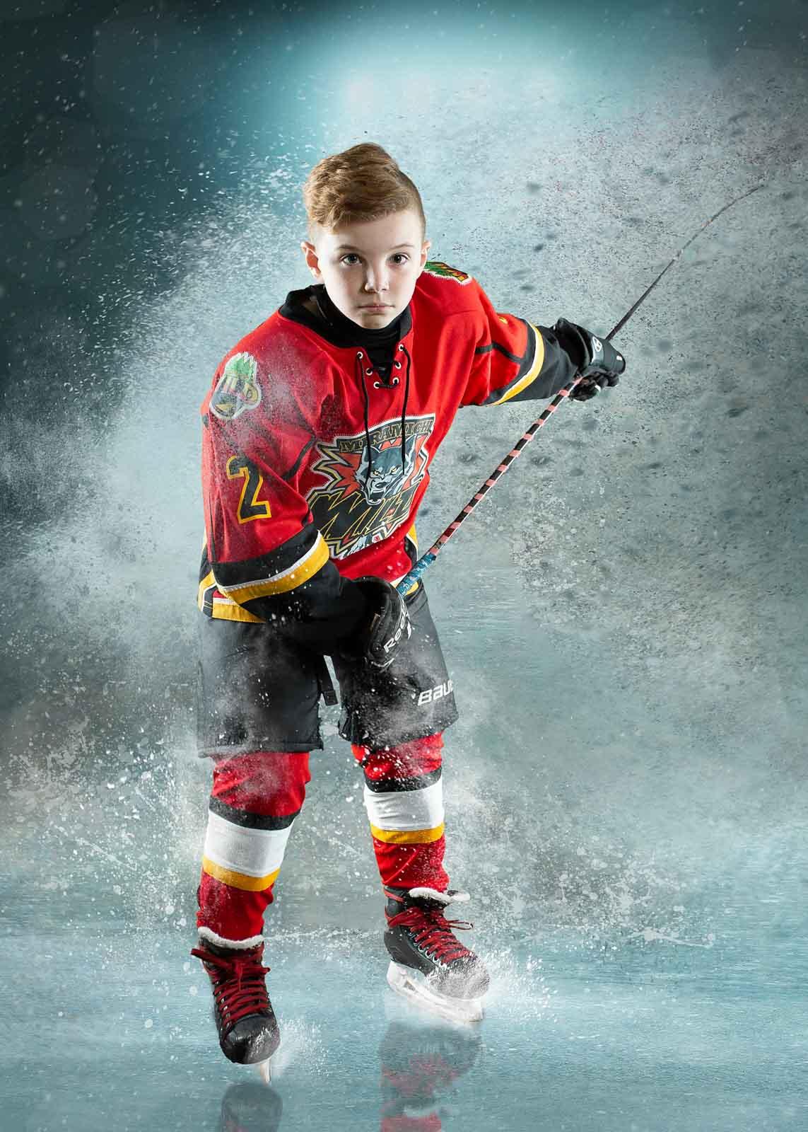 hockey player taking slapshot on ice composite