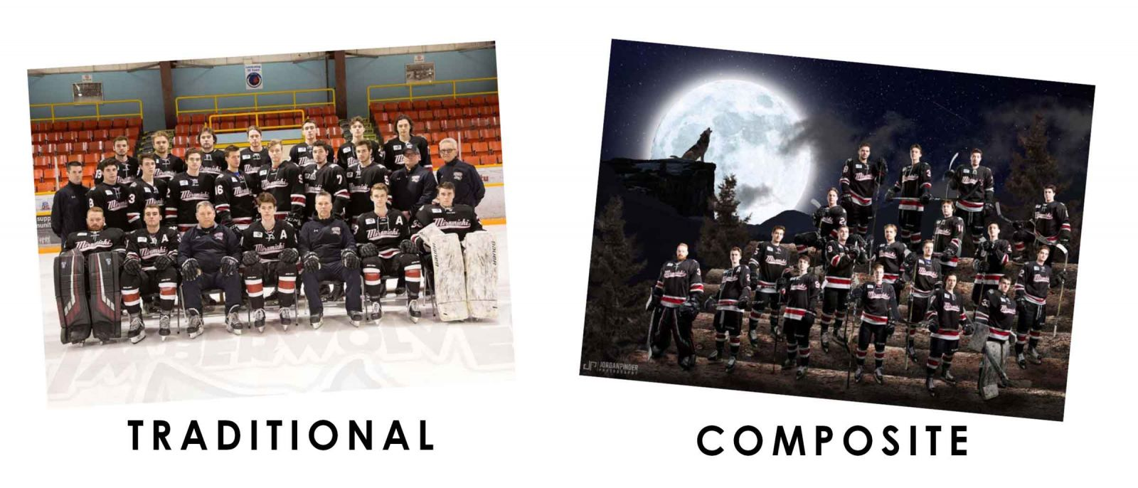 comparison of traditional and composite hockey team photo
